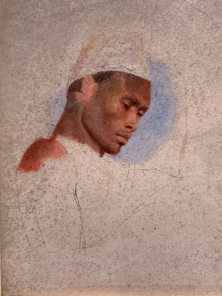 19thc century classical French portrait sketch of a North African mans head - Painting by French 19th Century School