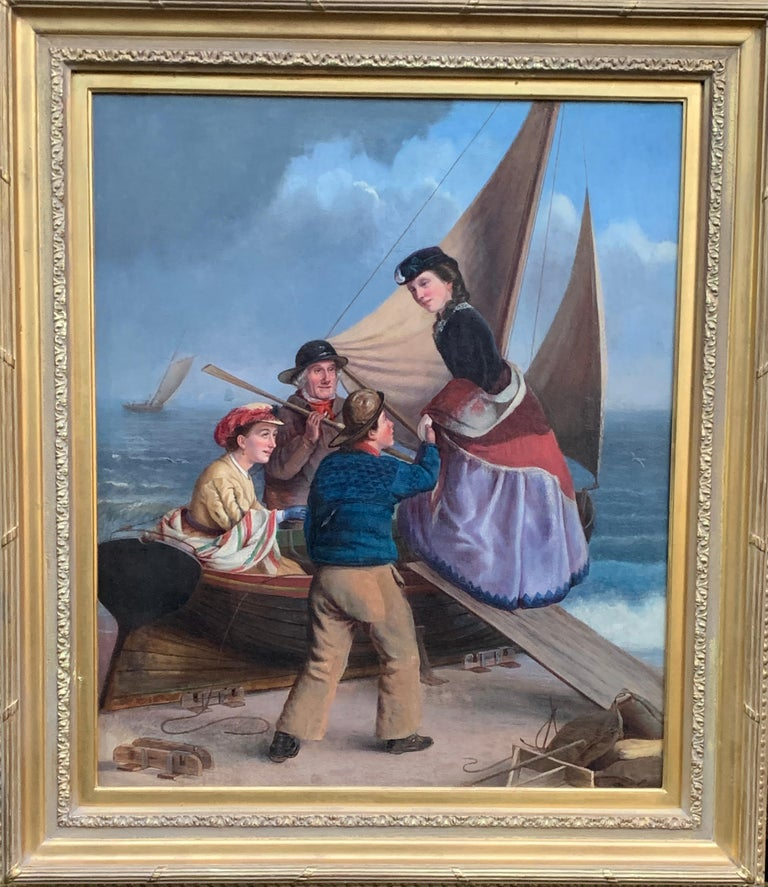 19th century English school Figurative Painting -  English 19th century figure scene with fisherman helping ladies on to a boat