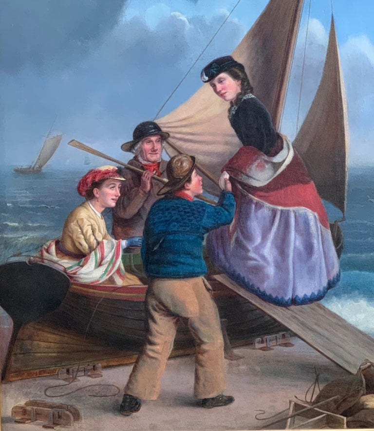 English 19th century figure scene with fisherman helping ladies on to a boat - Painting by 19th century English school