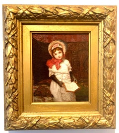 Victorian English portrait of a seated little girl with a red bow reading a book