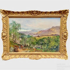 19th century English antique oil landscape with cows, trees, lakes and mountains