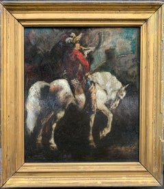 Early 19th century portrait of a cavalier dressed man on a horse in a landscape