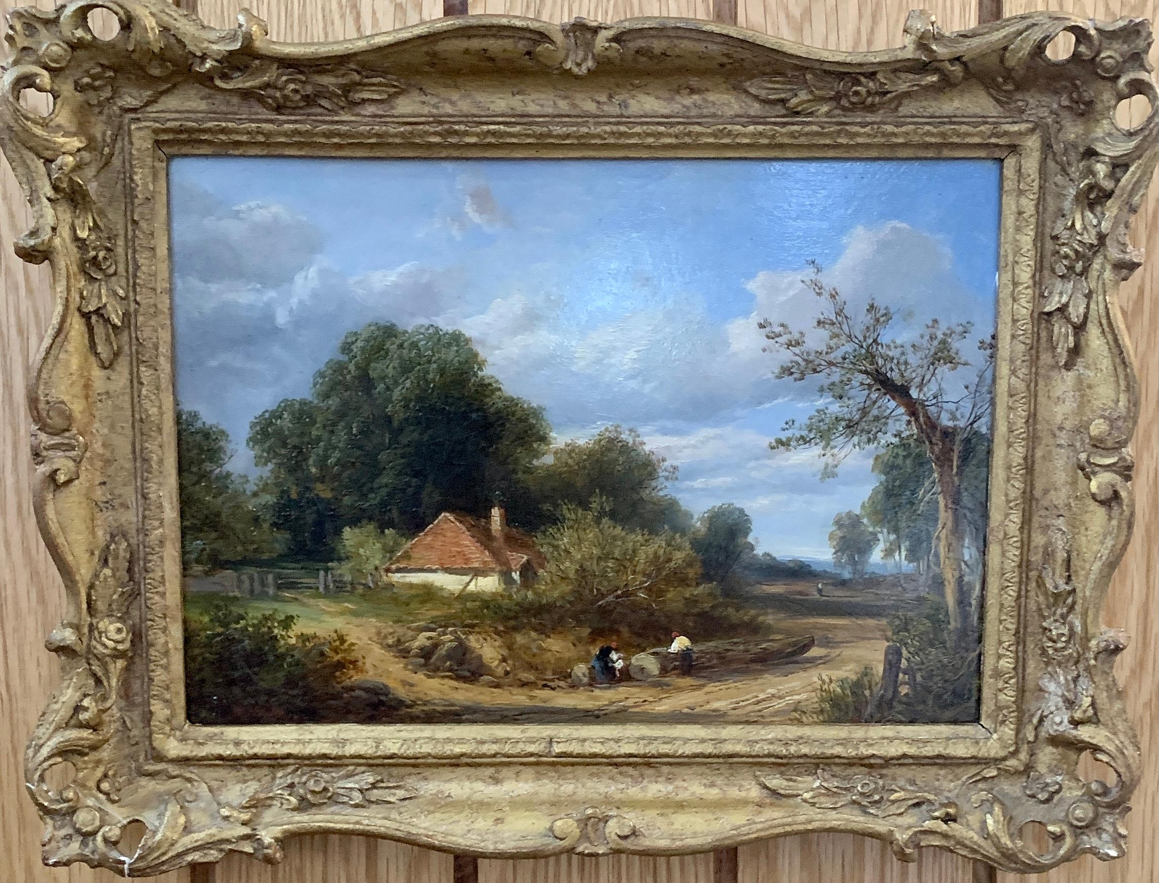 Landscape, English Victorian Cottage landscape with figures on a path, oak trees