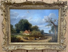 Landscape, English Victorian Cottage landscape with figures on a path, oak trees