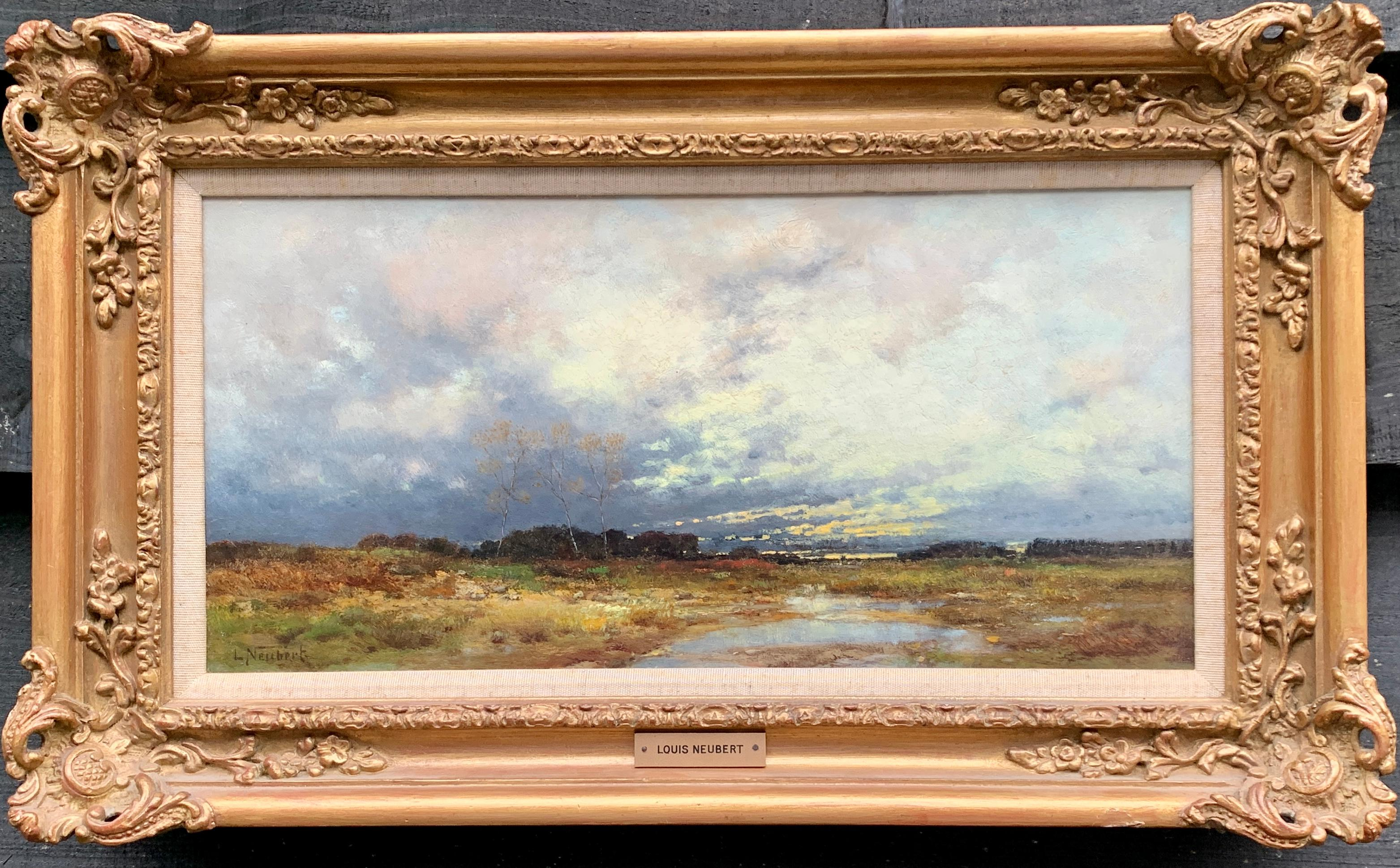 19th century German/European landscape in oils with setting sun, trees and water
