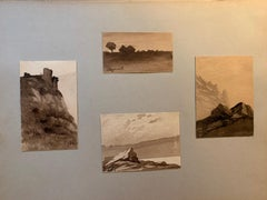 4 French 19th century Pen and Ink landscapes from a sketch folder