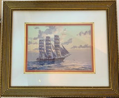 English tea Clipper ship in full sail at sea with the Sun rising