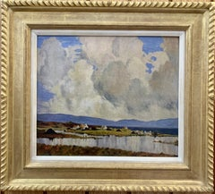 Early 20th century oil, Irish landscape with cottages of Connemara, Ireland