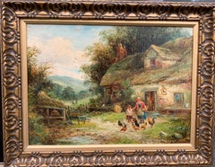 19th century English cottage landscape with mother and child feeding chickens