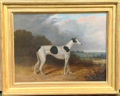 19th century English portrait of a Gray Hound with huntsmen in a landscape
