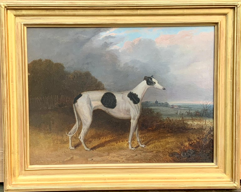 Unknown Animal Painting -  19th century English portrait of a Gray Hound with huntsmen in a landscape