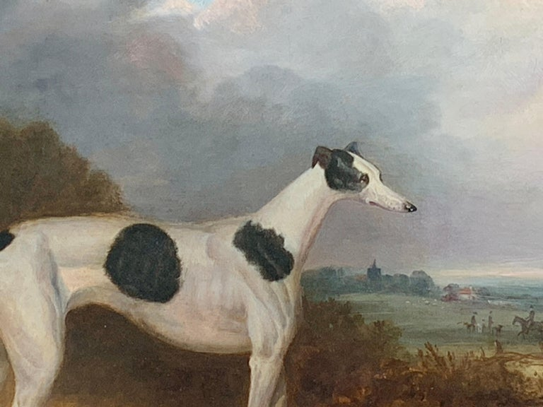 19th century English portrait of a Gray Hound with huntsmen in a landscape - Beige Animal Painting by Unknown