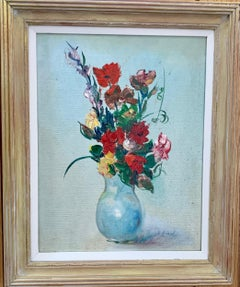 Impressionist mid 20th century still life of flowers in a vase, with poppies