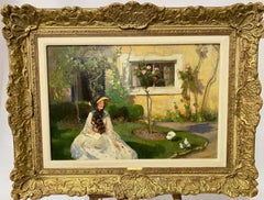 English Impressionist oil, lady in her garden feeding the birds, with Roses