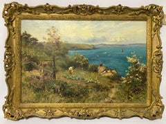 English Victorian oil of a man in his garden landscape overlooking the ocean