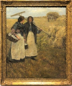 20th century British Impressionist oil of two women harvesting in a landscape