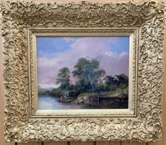 English 19th century oil, English school River landscape with fisherman, cottage
