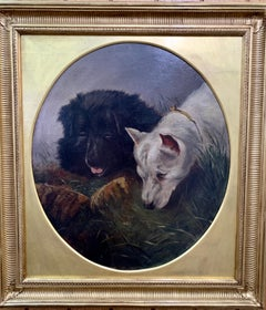 19th century English Victorian portrait of two terriers looking at a hedgehog