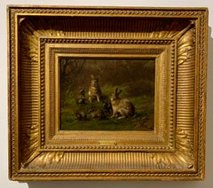 Fine quality French 19th century, Rabbits and bunnies in a landscape