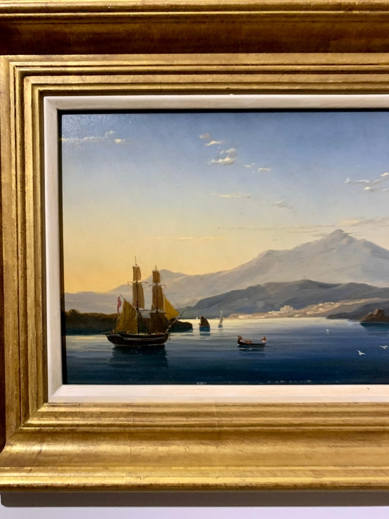 19th century English warship off the Italian, Mediterranean coast, with village - Victorian Painting by English school 19th century