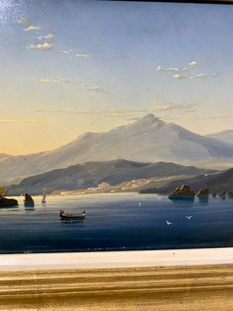 19th century English warship off the Italian, Mediterranean coast, with village - Brown Figurative Painting by English school 19th century