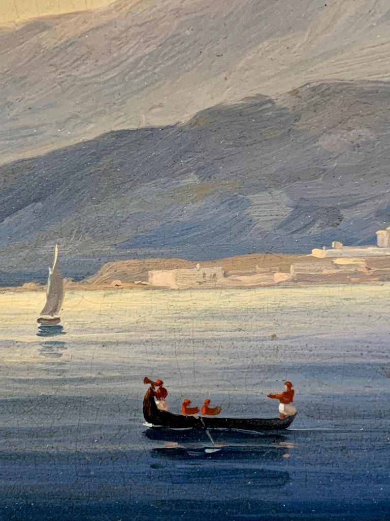 19th century English warship off the Italian, Mediterranean coast, with village For Sale 3