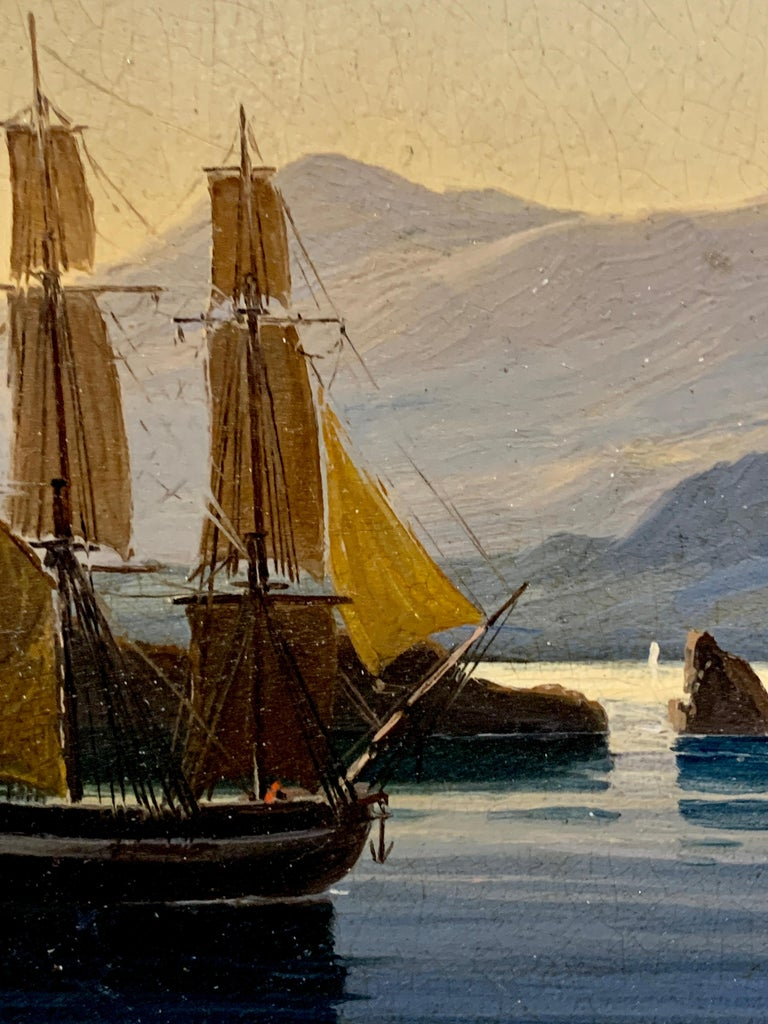 19th century English warship off the Italian, Mediterranean coast, with village For Sale 4