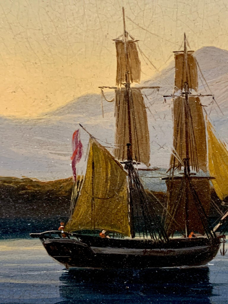 19th century English warship off the Italian, Mediterranean coast, with village For Sale 5