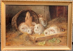 Victorian English 19th century, Rabbit eating lettuce and straw in a barn.