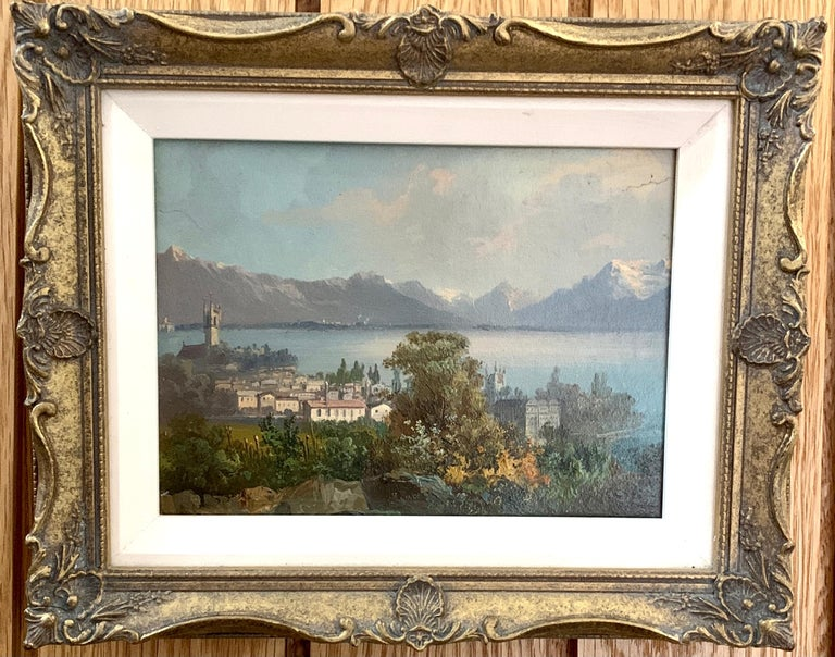 M.Schmidt Landscape Painting - Early 20th century Swiss views of Vevey,on the north shore of Lake Geneva