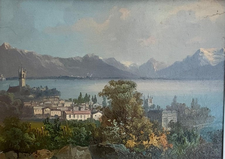 Early 20th century Swiss views of Vevey,on the north shore of Lake Geneva - Painting by M.Schmidt