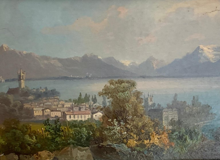 Early 20th century Swiss views of Vevey,on the north shore of Lake Geneva - Victorian Painting by M.Schmidt