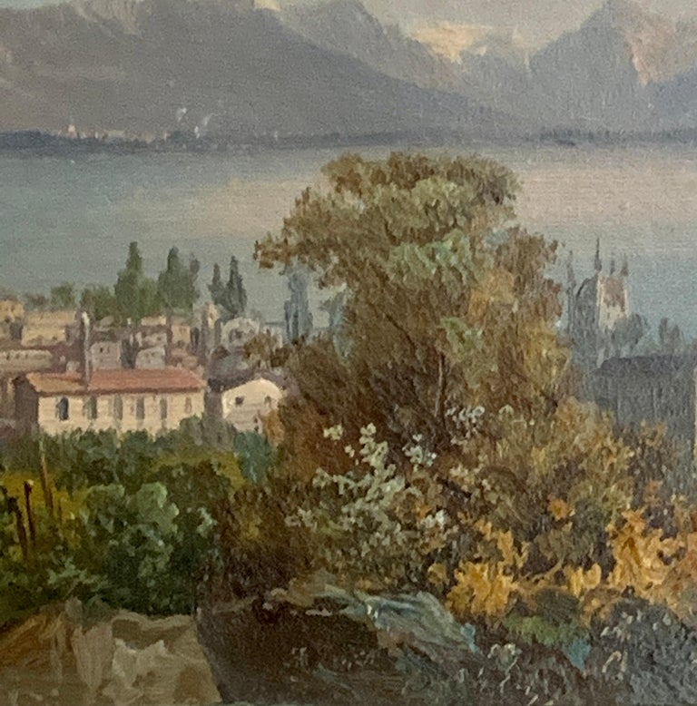 Early 20th century Swiss views of Vevey,on the north shore of Lake Geneva - Brown Landscape Painting by M.Schmidt
