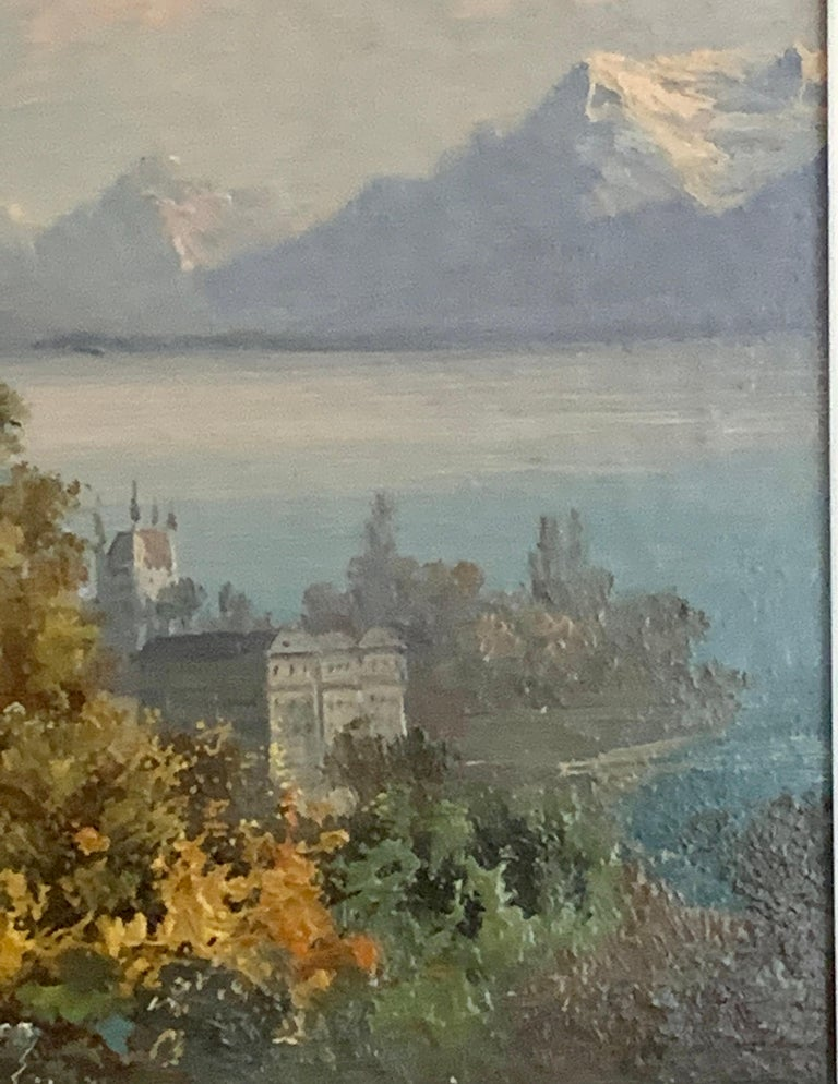 Pretty and well-painted, View of Vevey on the north shore of Lake Geneva.  Dating from the early 20th century this painting would have been painted for one of the many visitors who would have gone to Vevey to holiday or live by the picturesque Lake