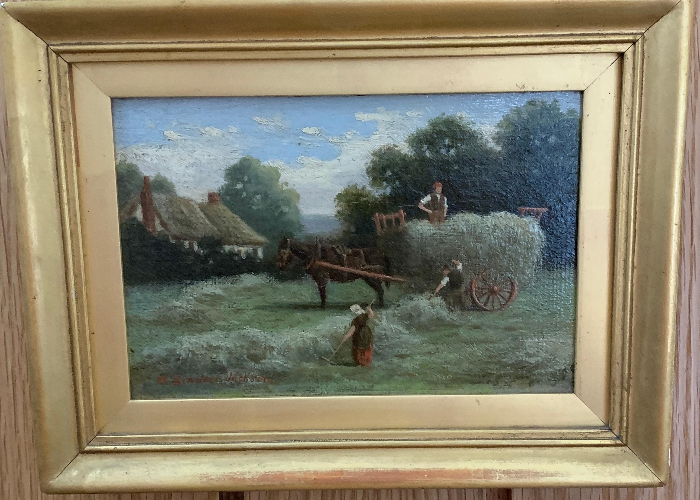 Victorian English 19th century landscape with cart, Farmers,Horse and harvest