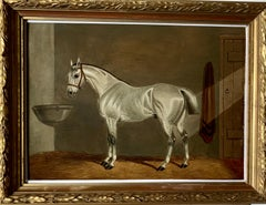 19th century Antique Portrait of an English Gray Horse in a stable in oils.