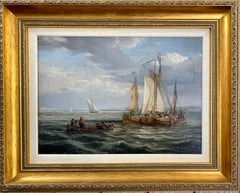 Antique Dutch 19th century ships at sea, fishing boats, men rowing.