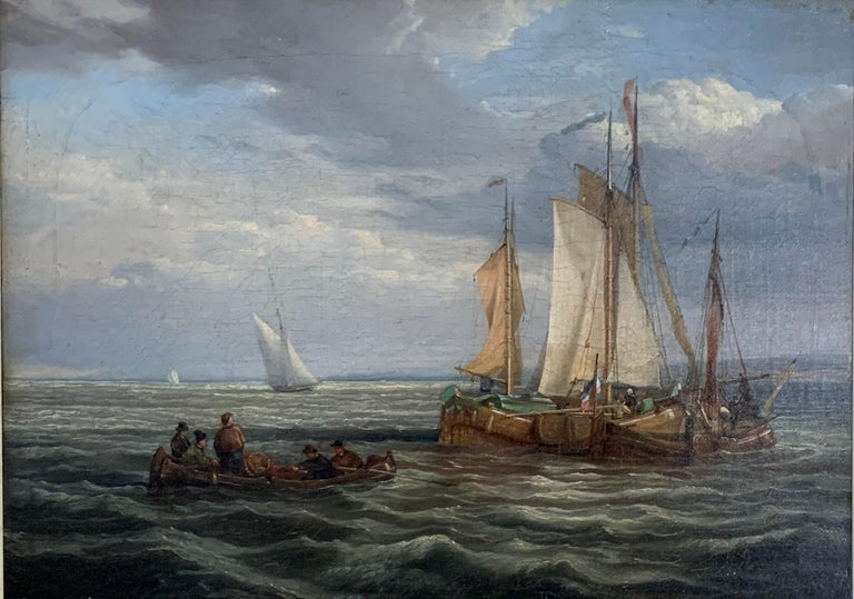 Antique Dutch 19th century ships at sea, fishing boats, men rowing. - Painting by Dutch 19th century School
