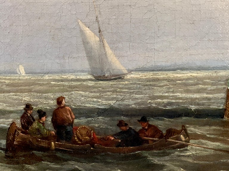 Antique Dutch 19th century ships at sea, fishing boats, men rowing. - Brown Figurative Painting by Dutch 19th century School