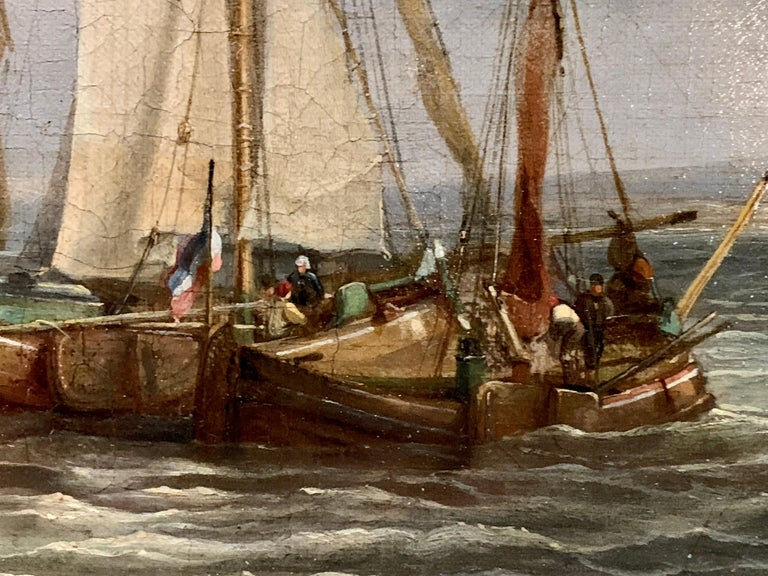 A very well-painted Dutch 19th century marine scene. The small boat is full of men who are rowing hard to get to the larger vessels, possibly to either take goods on or off the larger boats.   The artist was a skilled exponent on how to paint the