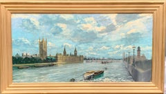 Late 20th century view of the the River Thames, at Westminster, with Big Ben