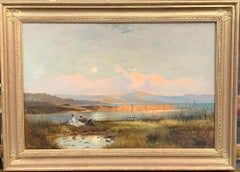 Antique 19th century English Highland landscape lock scene with young couple