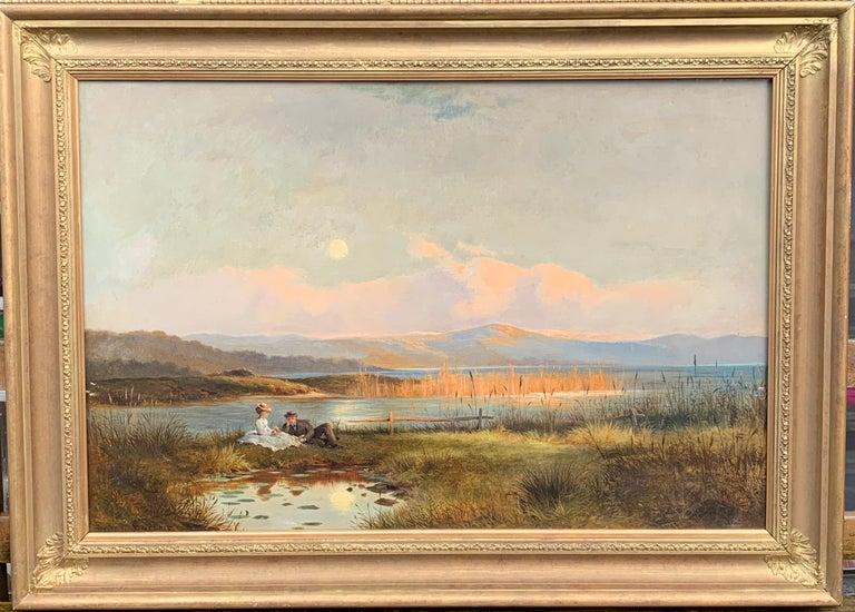 J.Sinclair Figurative Painting - Antique 19th century English Highland landscape lock scene with young couple
