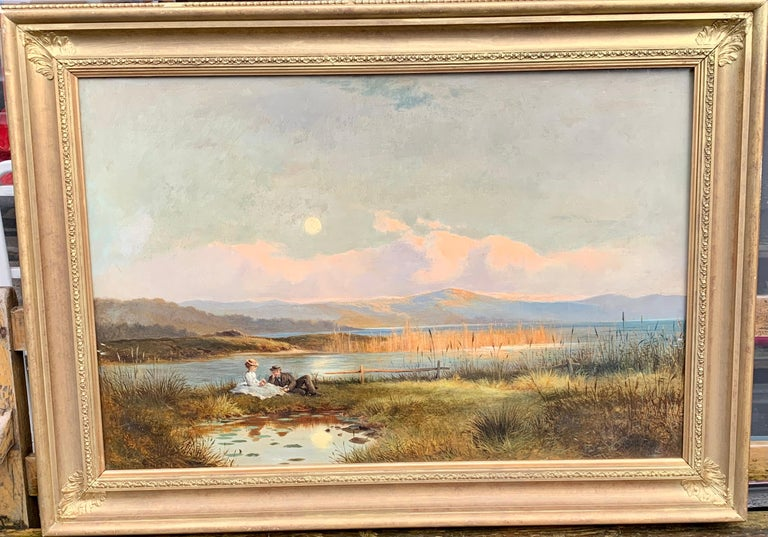 Antique 19th century English Highland landscape lock scene with young couple - Painting by J.Sinclair