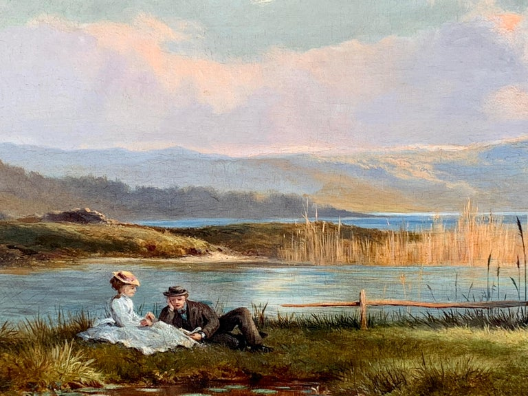 Antique 19th century English Highland landscape lock scene with young couple - Beige Figurative Painting by J.Sinclair