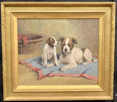 Early 20th century Hungarian portrait of a terrier dog and her puppy in oils