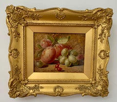 Victorian late 19th century English still life of Plums, grapes and berries