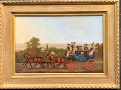 Late 19thC English Coach and horses in a landscape. Cambridge to London Coach