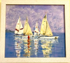 English 20th century oil of sailing yachts racing, titled 'Rounding the Marker'