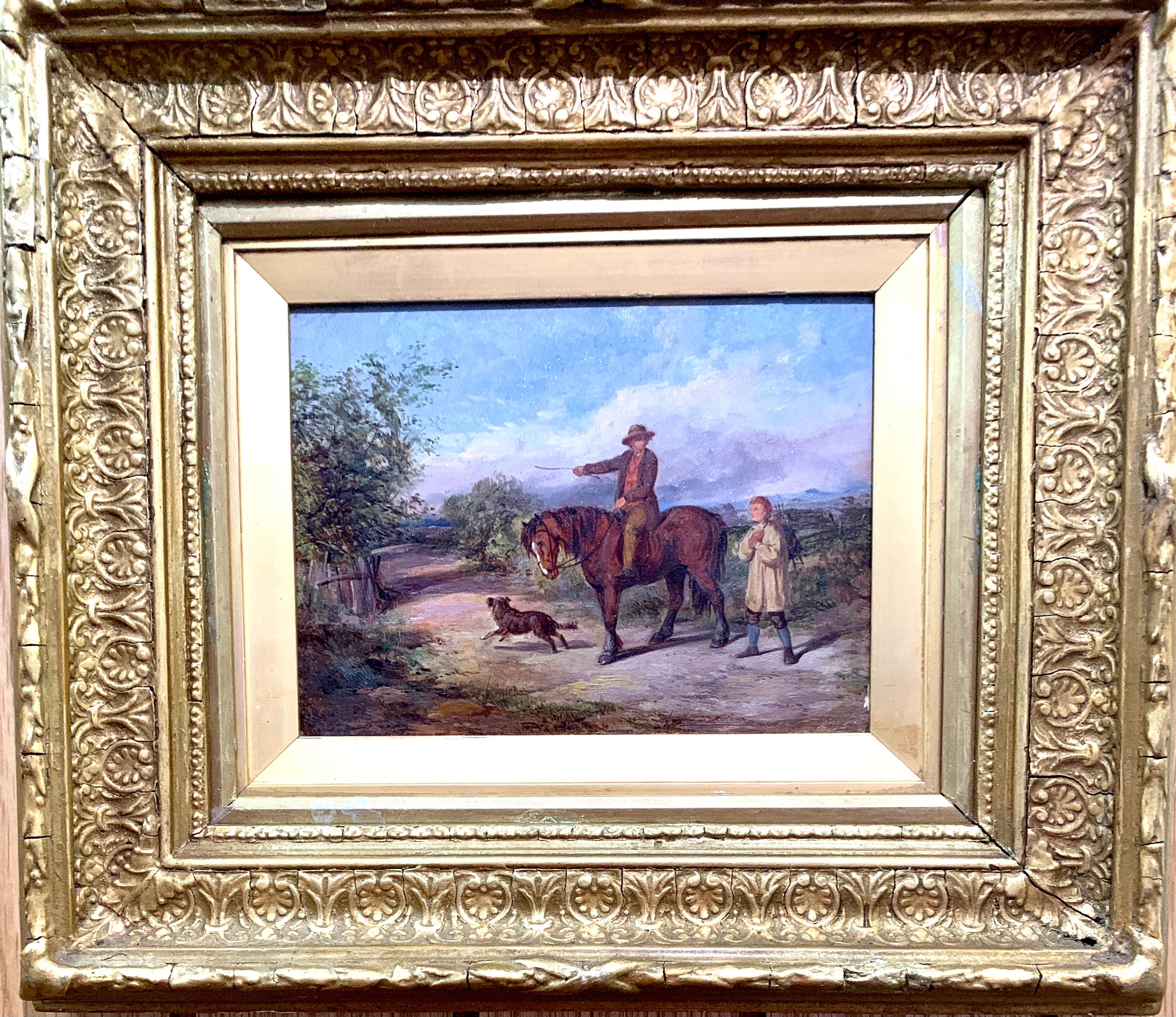 Antique English 19th century man with horse in landscape on pathway with friend